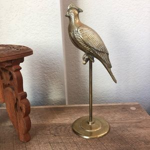 "Vintage Solid Brass Bird Perching On Stick  10"" ta"